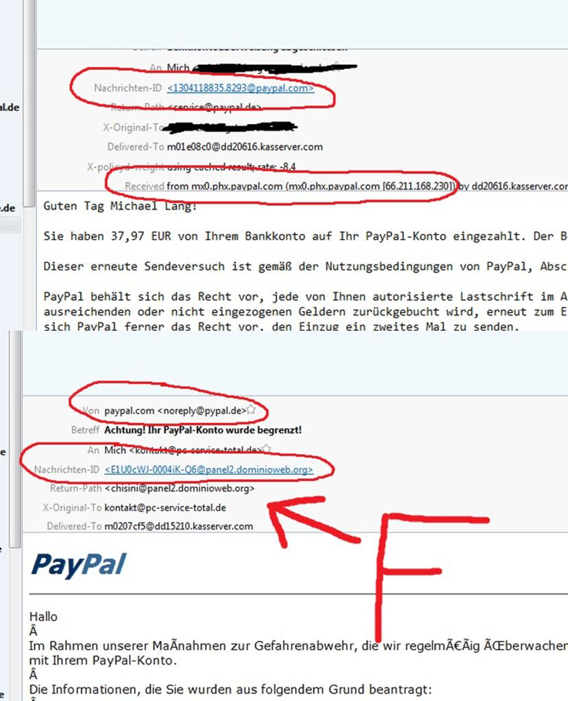 Paypal Emails vergleichen