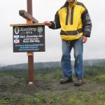 585 m Kuschberg Gipfelkreuz Wegewart Opa Eule